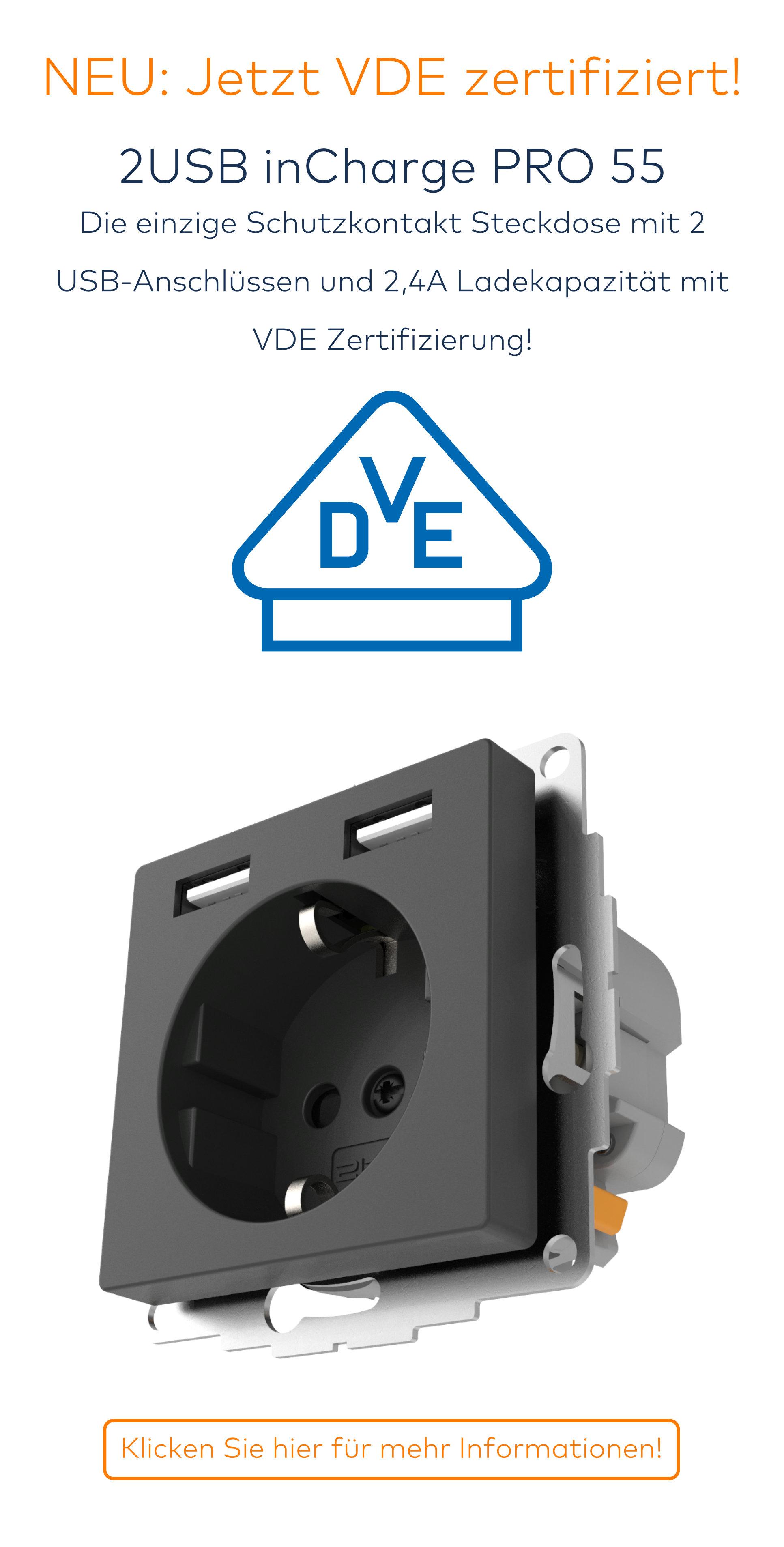 Berühmt Das Kompatible Schuko Steckdose mit USB von 2USB ZG24